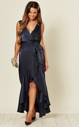 Wrap Front Maxi Dress In Navy by FLOUNCE LONDON Product photo