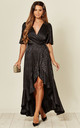 Satin Wrap Front Maxi Dress in Black Floral Jacquard by FLOUNCE LONDON