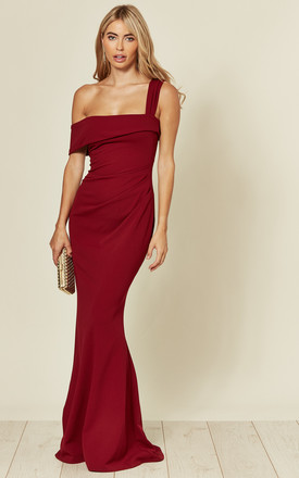 Off The Shoulder Pleated Waist Maxi Dress In Wine Red by Goddiva Product photo