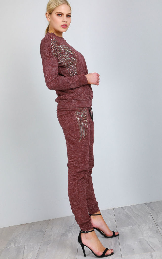 Knit Loungewear Co-ord in Wine with Diamantes by Oops Fashion