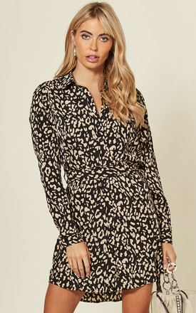 Animal Print Mini Shirt Dress With Tie Belt by AX Paris Product photo