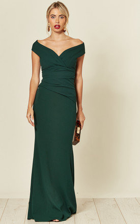 Bardot Pleated Occasion Maxi Dress In Emerald Green by Goddiva Product photo