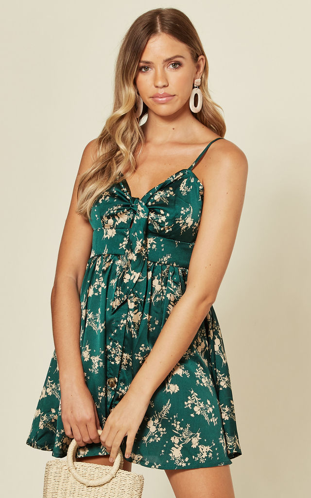 Satin Skater Dress In Green Floral by Oeuvre