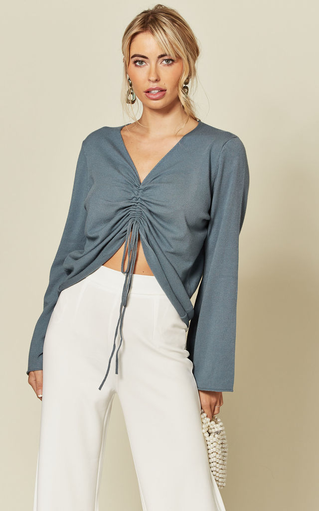 Blue Long Sleeve Knit Top with Ruched Front & Tie by ANGELEYE