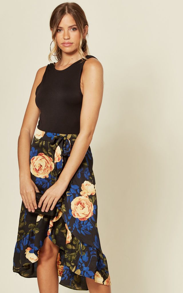 Frill Wrap Midi Skirt in Navy Floral Print by MISSI LONDON
