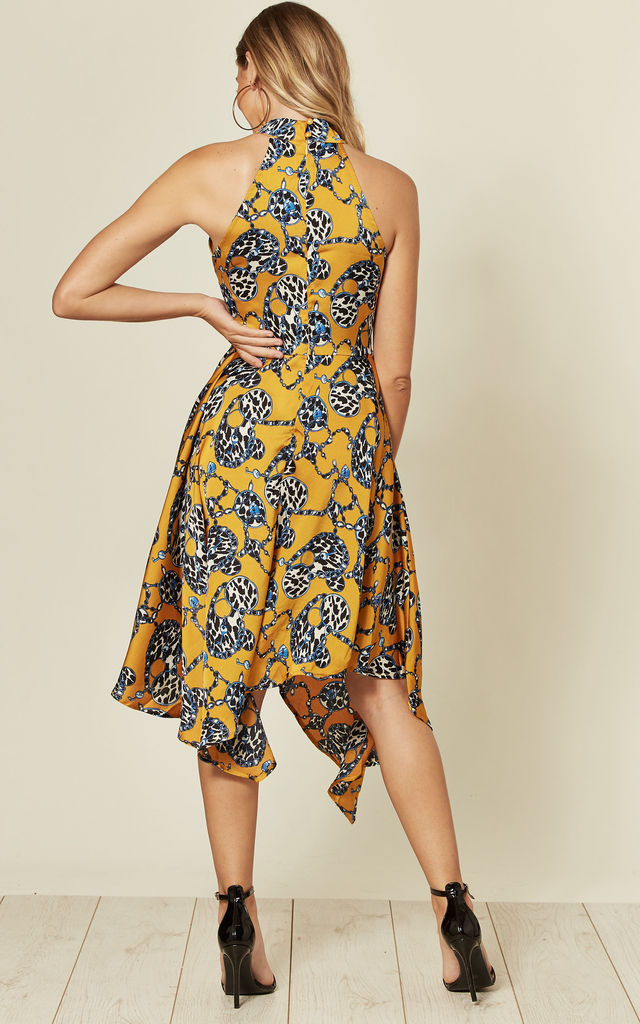 High Neck Asymmetric Dress in Yellow Key Chain Print by Off The Railz
