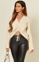 Cream Long Sleeve Knit Top with Ruched Front & Tie by ANGELEYE