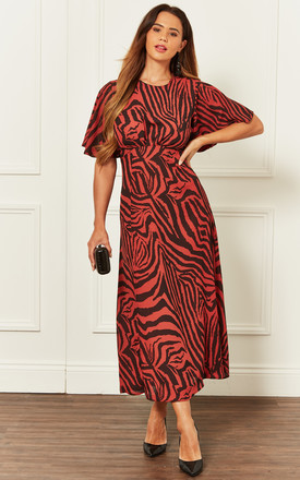 Kimono Sleeve Midi Dress With Split Leg In Red Zebra by John Zack Product photo