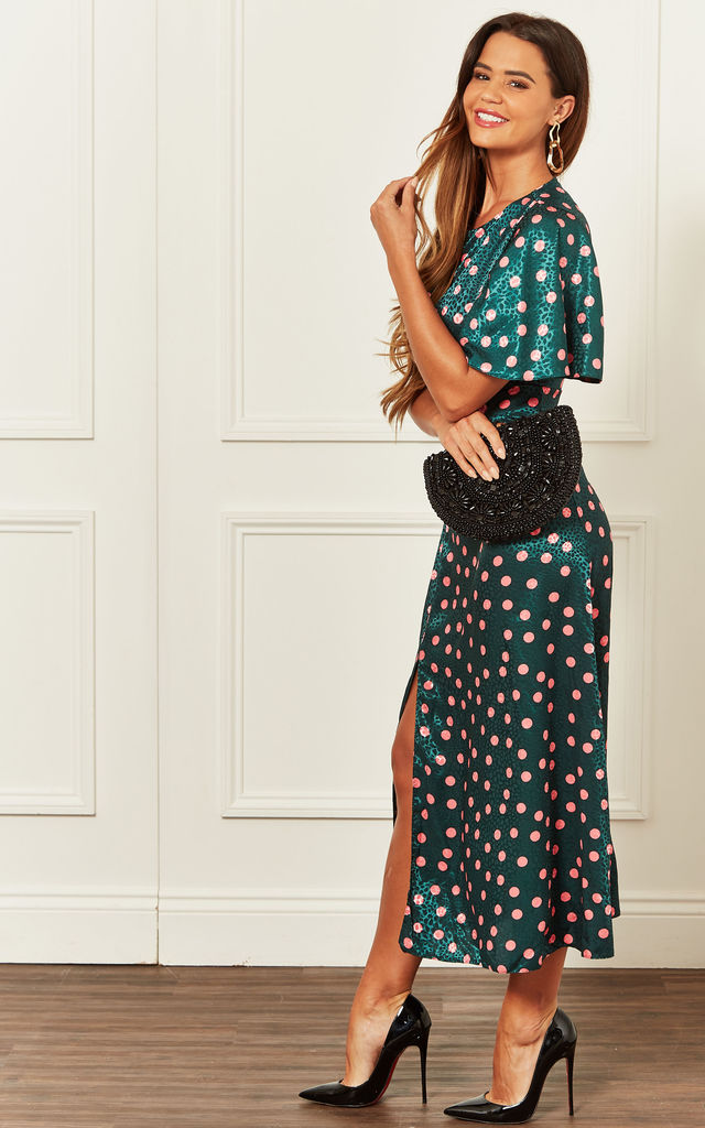 Kimono Sleeve Midi Dress with Split Leg in Green Pink Polka Dot by John Zack