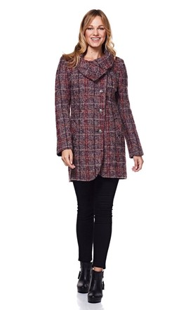 Pink Check Winter Coat with Large Collar by Anastasia Fashions