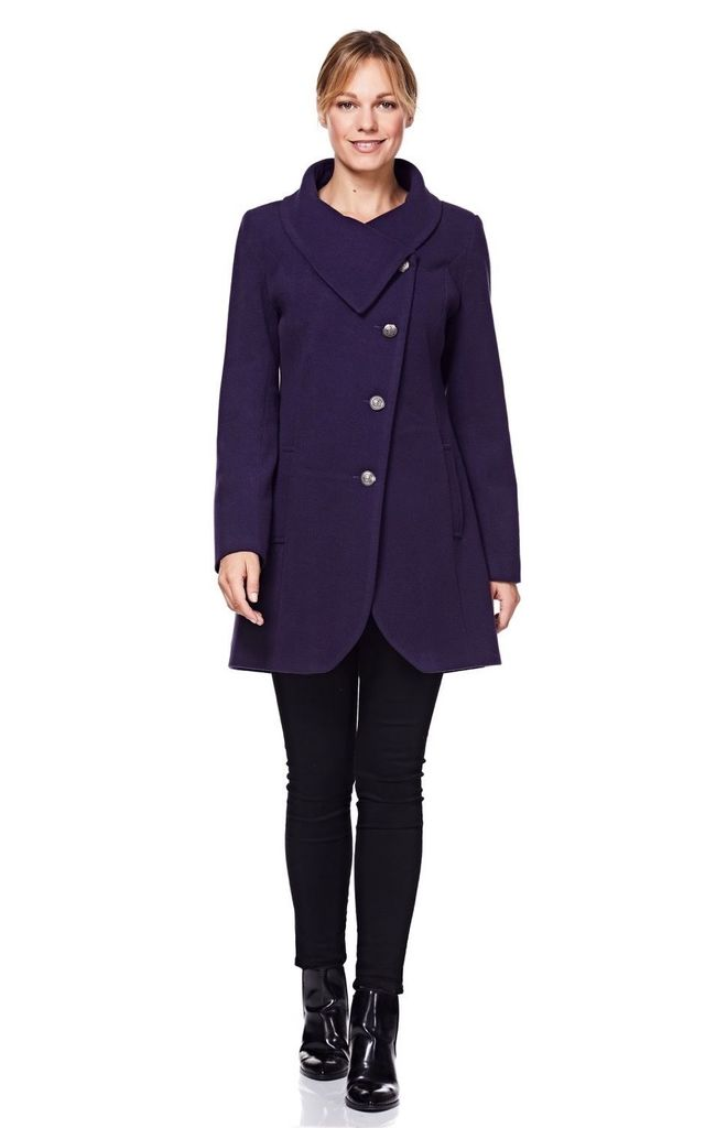 Purple Asymmetric Winter Coat with Large Collar by Anastasia Fashions