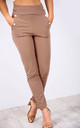 High Waisted Button Cigarette Trousers in Mocha by Oops Fashion