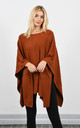 Brown Loose Poncho With Raised Detail by Lucy Sparks