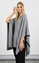 Grey Loose Poncho With Raised Lines by Lucy Sparks