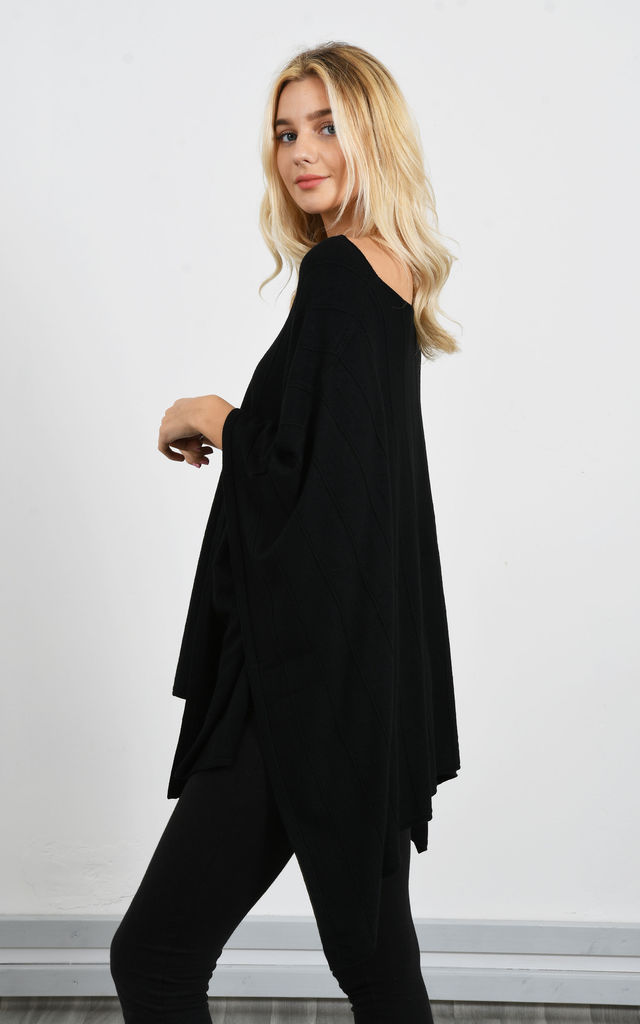 Black Loose Poncho With Raised Detail by Lucy Sparks