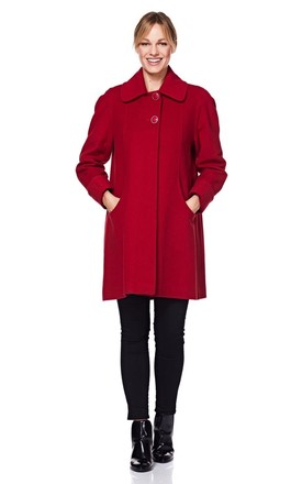 Lisa Red Wool & Cashmere Swing Coat by De La Creme Fashions