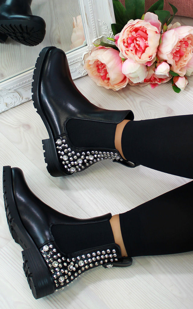 Black Chelsea Ankle Boots with Studs by Larena Fashion