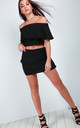 Marley High Waisted Tiered Frill Mini Skirt In Black by Oops Fashion