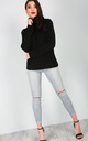 Lily Roll Neck Cable Knit Jumper In Black by Oops Fashion