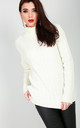 Roll Neck Cable Knit Jumper In Cream by Oops Fashion