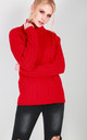 Roll Neck Cable Knit Jumper In Red by Oops Fashion