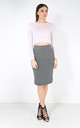 Hailsee High Waisted Midi Pencil Skirt In Grey by Oops Fashion