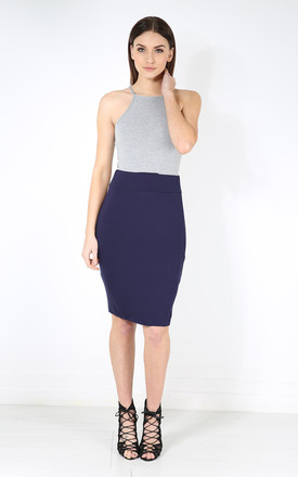 Hailsee High Waisted Midi Pencil Skirt In Navy by Oops Fashion