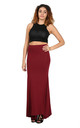 Paris High Waisted Floaty Maxi Skirt In Wine Red by Oops Fashion