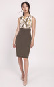 Sleeveless Panelled Pencil Dress in Khaki Leaf Print, summer day dresses by Lanti