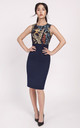 Sleeveless Panelled Pencil Dress in Navy Leaf Print,  summer day dresses by Lanti