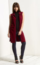 Francesca Open Front Sleeveless Jacket In Wine Red by Oops Fashion