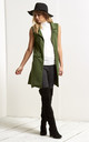 Francesca Open Front Sleeveless Jacket In Khaki by Oops Fashion
