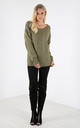 Sally Cable Knit Oversized Jumper In Khaki by Oops Fashion