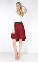 High Waist Dipped Hem Midi Skirt In Wine by Oops Fashion