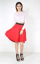 High Waist Dipped Hem Midi Skirt In Red by Oops Fashion