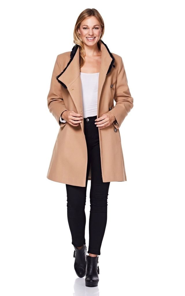 Camel Winter Coat With Faux Fur Collar by Anastasia Fashions