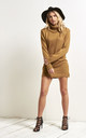 Roll Neck Knitted Jumper Dress In Camel by Oops Fashion