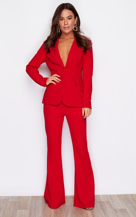 Iris Wide Led Suit Trouser Red by Girl In Mind