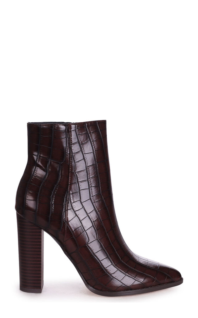 Lucy Brown Croc Ankle Boots With Stacked Block Heel by Linzi