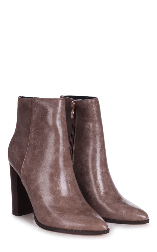 Lucy Taupe Ankle Boots With Stacked Block Heel by Linzi