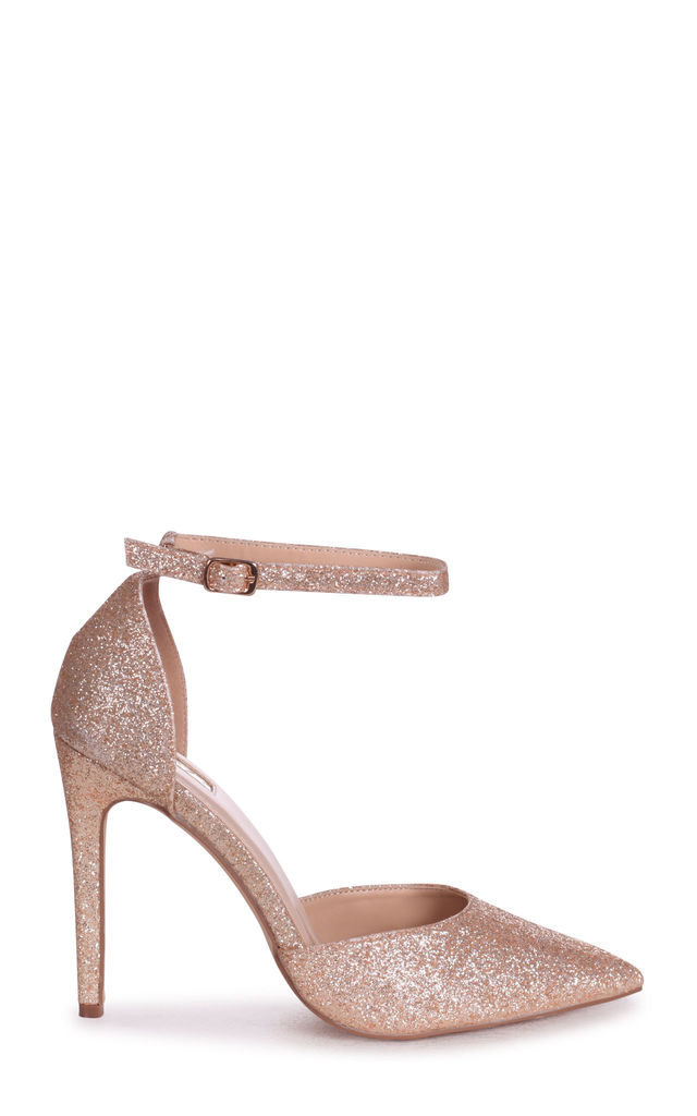Whitney Gold Glitter Court Heels With Straps by Linzi