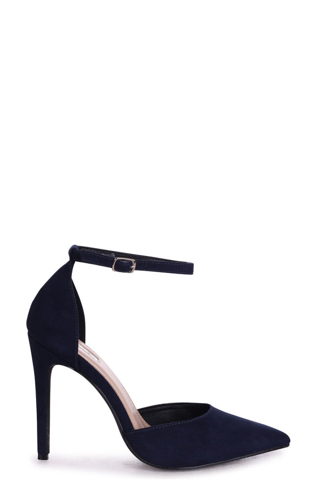 Whitney Navy Suede Court Heels With Straps by Linzi