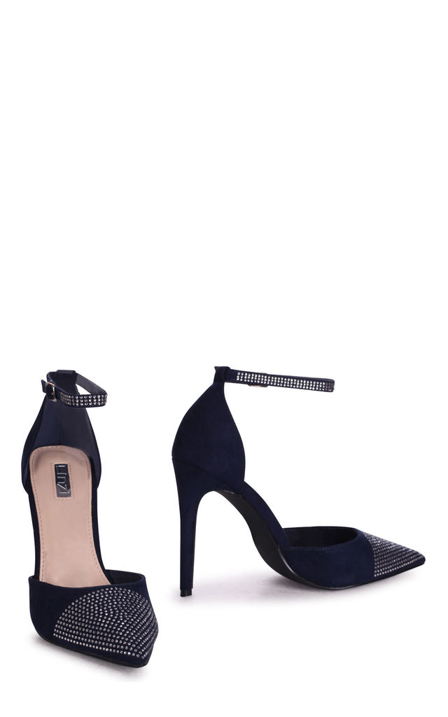 Dove Navy Suede Court Heels With Diamantes by Linzi
