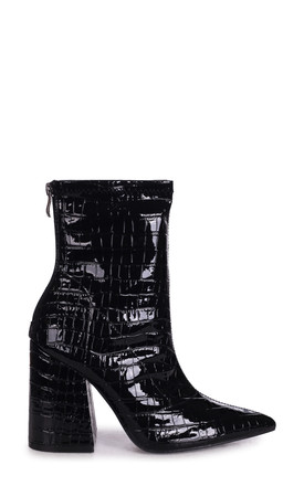 Kitty Block Heel Boots in Black Patent Croc Faux Leather by Linzi