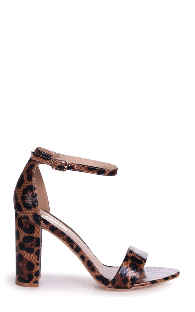 Nelly Barely There Block Heels in Mocha Leopard Print by Linzi