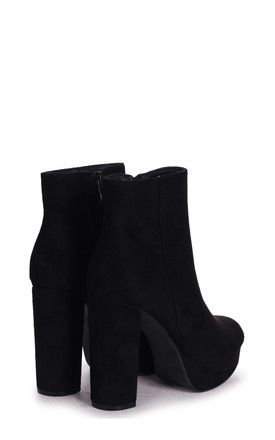 Saint Platform Ankle Boots in Black Suede by Linzi