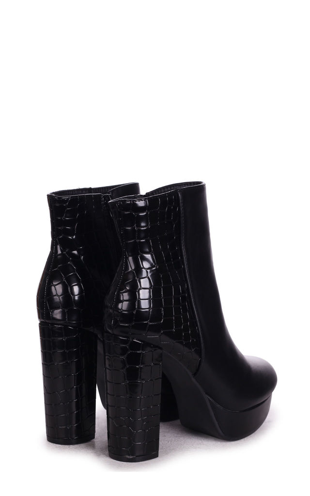 Saint Platform Ankle Boots in Black Nappa & Croc by Linzi