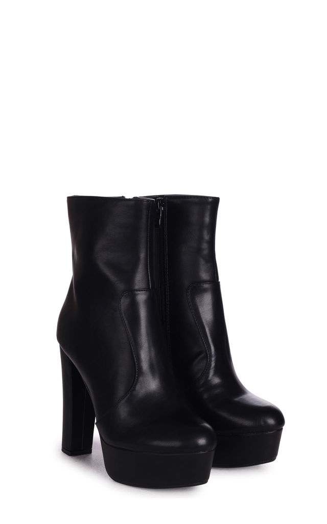 Leonie Platform Ankle Boots in Black Nappa by Linzi