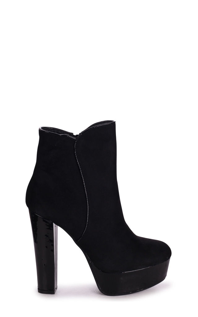 Bloom Platform Ankle Boots in Black Patent & Suede by Linzi