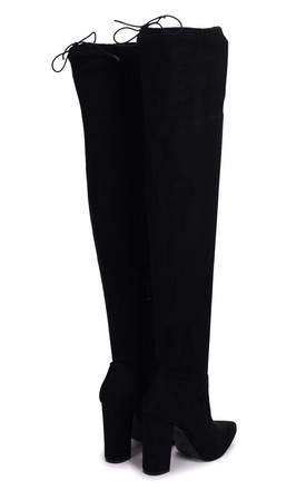 Reign Over The Knee Boots in Black Suede by Linzi